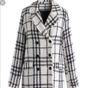 White Plaid Pea Coat